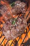Beef steak on garden grill Stock Photos