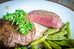Beef Steak With Green Beans Royalty Free Stock Image