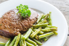 Beef Steak with green beans Stock Photo