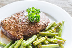 Beef Steak with green beans Stock Photography