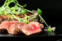 Beef steak with greens Royalty Free Stock Images