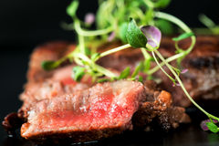 Beef steak with greens Royalty Free Stock Photography