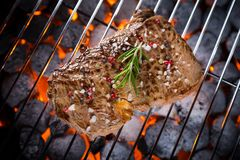 Beef steak on grill Royalty Free Stock Photo