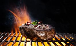 Beef steak on grill Royalty Free Stock Image