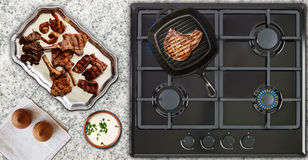 Beef Steak in a Grill Pan Stock Photos