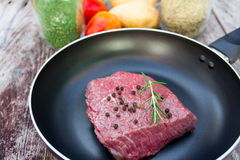 Beef steak in a grill pan Stock Photography