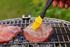Beef steak grilled on a barbecue Stock Image