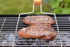 Beef steak grilled on a barbecue Stock Photography