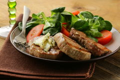 Beef steak grilled with fresh salad Stock Images