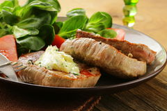Beef steak grilled with fresh salad Stock Photos