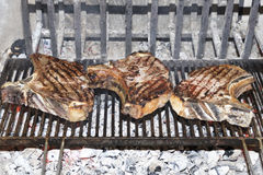 Beef steak grilled. A top sirloin steak flame broiled on a barbecue, shallow depth of field royalty free stock photo