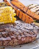 Beef Steak with Grilled Vegetables. Close up stock photo