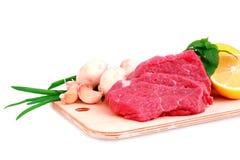 Beef steak  on meat hardboard Stock Photo
