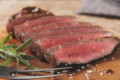 Beef steak medium well sliced. A royalty free stock images