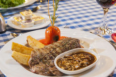 Beef steak with mushroom sauce meal Royalty Free Stock Photography