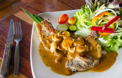 Beef steak with mushroom sauce Royalty Free Stock Photography