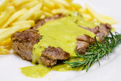 Beef steak mustard sauce Stock Photography