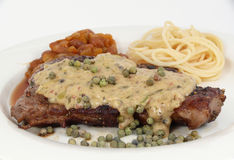 Beef steak with pepper Stock Photography
