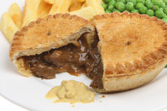 Beef Steak Pie Chips Meal Royalty Free Stock Image