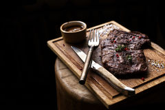 Beef steak. Piece of Grilled BBQ beef marinated in spices Royalty Free Stock Image