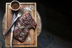 Beef steak. Piece of Grilled BBQ beef  in spices Stock Image