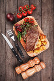 Beef steak with potato and vegetables Stock Image