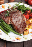 Beef steak with potato and vegetables Stock Photos