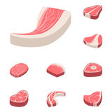 Beef steak raw meat food red fresh cut butcher uncooked chop barbecue bbq slice ingredient vector illustration. Slice pork cooking barbecue fillet sirloin Stock Photography
