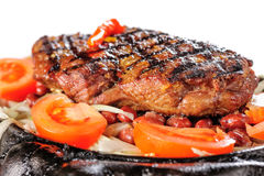 Beef steak with red beans garnish stock photo