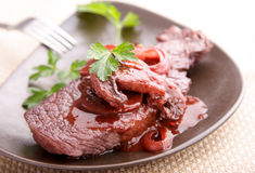 Beef steak in redwine Royalty Free Stock Image