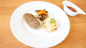 Beef steak with rice Royalty Free Stock Images