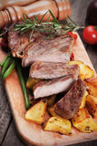 Beef steak with roasted potato Royalty Free Stock Photo