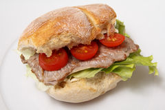 Beef steak sandwich Royalty Free Stock Photography