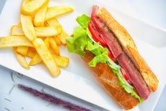 Beef steak sandwich Royalty Free Stock Photo