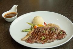 Beef  steak and sauce Royalty Free Stock Photos