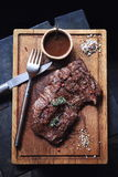 Beef steak, seasoning and sauce Stock Image