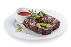 Beef steak is in Spanish style. royalty free stock image