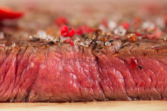 Beef steak with spices cut macro Stock Photos