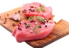 Beef steak with spices. Beef steak with spices and dill Stock Photos