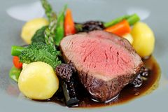 Beef steak with sesonal vegetables close up. stock photo