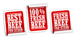 Beef for steak stickers. Fresh beef for steak stickers set Royalty Free Stock Image