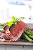 Beef steak and string beans Royalty Free Stock Photography