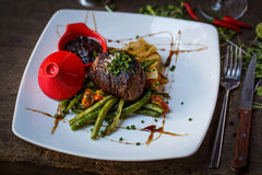 Beef steak. Tasty beef steak in restaurant Royalty Free Stock Photography