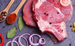 Beef steak with vegetables. Of background Stock Photography