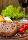 Beef steak with vegetables Stock Images