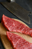 Beef steak with vintage cleaver Royalty Free Stock Photo