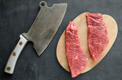 Beef steak with vintage cleaver Stock Photography