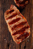 Beef steak with vintage wooden board Stock Photo