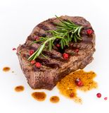 Beef steak on white background Royalty Free Stock Images