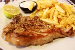 Beef Steak With Fried Potatoes Royalty Free Stock Image